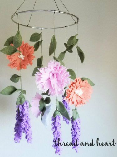 Peony And Lavender Felt Crib Mobile On Etsy